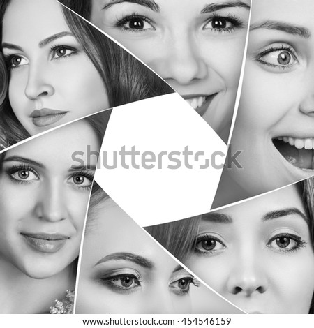 Collage of a beautiful woman faces