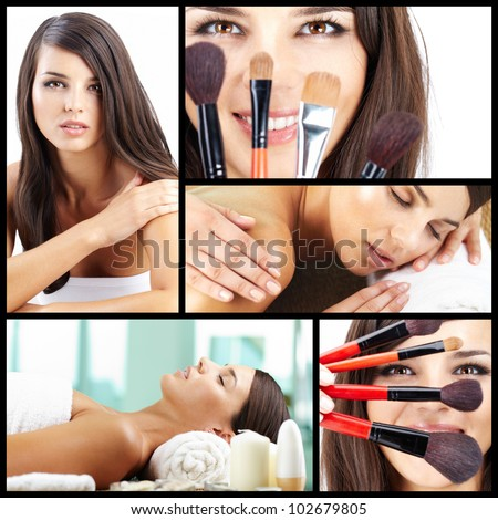 Collage of a beautiful woman taking care of her beauty - stock photo