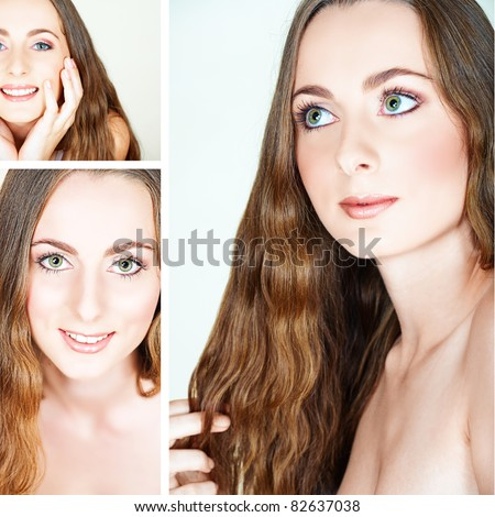 collage of a beautiful young happy woman with long curly hair in spa context of healthy hair care - stock photo