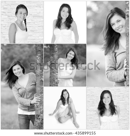 Collage of a beautiful young woman with long brunette hair, beauty concept, seven monochrome outdoor and studio photos - stock photo