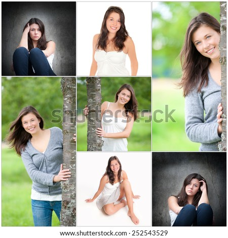 Collage of a beautiful young woman with long brunette hair, beauty concept, seven photos - stock photo