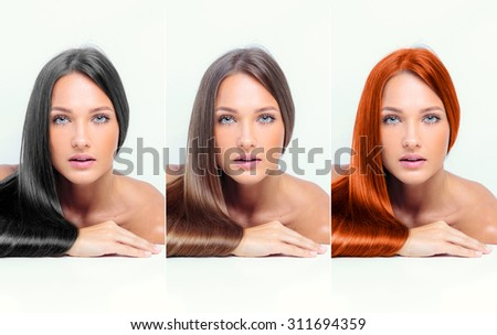 collage of a beautiful young woman , with long natural straight hair , mixed color , concept hairstyle