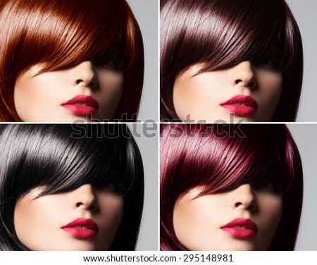 Collage of a beautiful young woman , with natural straight glossy hair , mixed color , concept hairstyle - stock photo