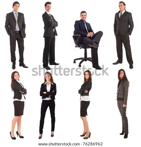 Collage of a big group of businesspeople. Isolated on white. - stock photo