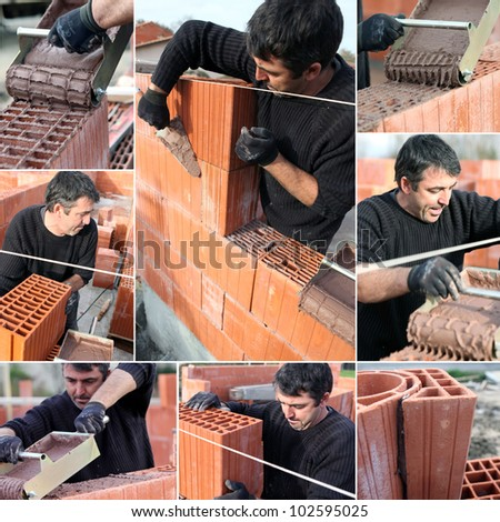 Collage of a bricklayer - stock photo