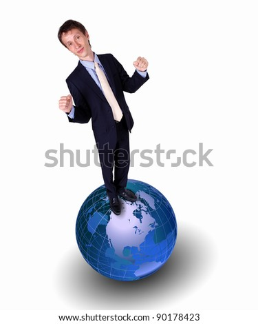 Collage of a businessman with our planet earth - stock photo