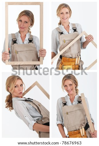 Collage of a carpenter - stock photo