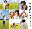 Collage of a couple in summer field - stock photo