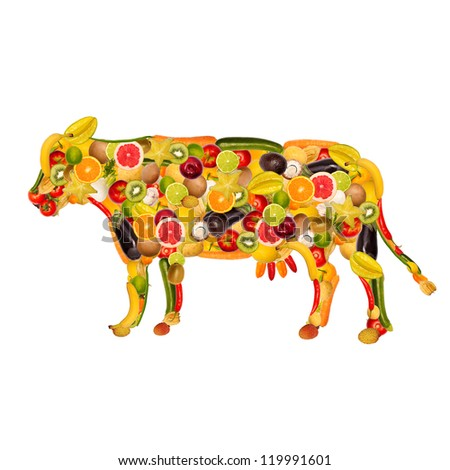 collage of a cow, composed of fruit and vegetables