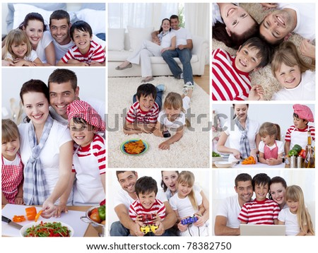 Collage of a family enjoying moments together at home