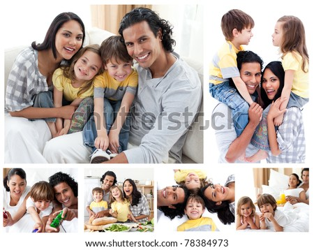 Collage of a family enjoying moments together at home - stock photo