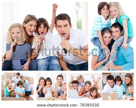 Collage of a family sharing moments together at home - stock photo