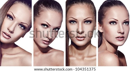 collage of a fashion model with perfect clean skin and beautiful makeup - stock photo