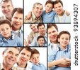 Collage of a father, grandfather and son on white background - stock
