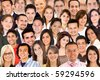 Collage of a group of people portrait smiling - stock photo