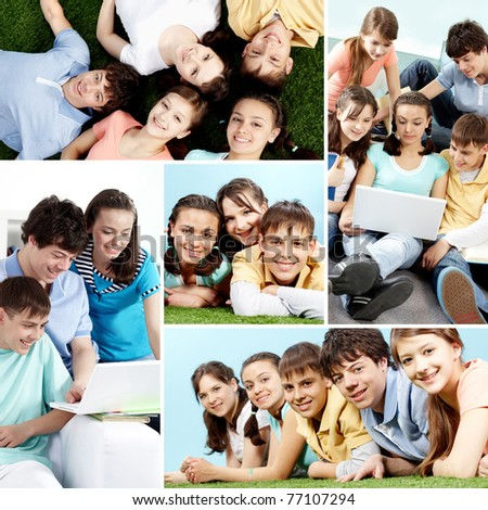 Collage of a group of teenagers - stock photo