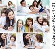 Collage of a happy family of four spending time together at home - stock photo