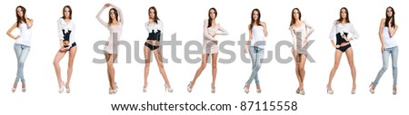 Collage of a lady in nine poses - stock photo
