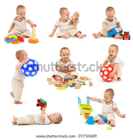 Collage of a little boy playing with various toys. Isolated on white - stock photo