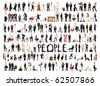 Collage of a lots of people with different expression isolated on white background - stock