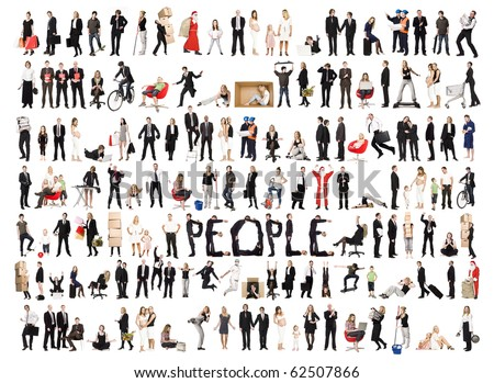 Collage of a lots of people with different expression isolated on white background