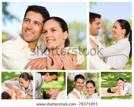 Collage of a lovers enjoying a moment together in a park - stock photo