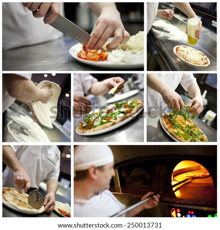 Collage of a male baker preparing pizza. - stock photo