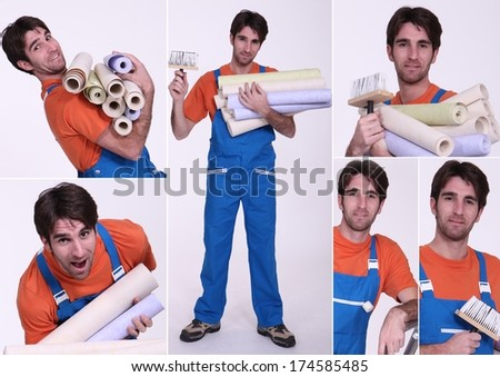 Collage of a man holding wallpaper rolls - stock photo
