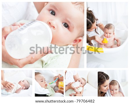 Collage of a mother spending a day with her child - stock photo