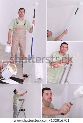 Collage of a painter - stock photo