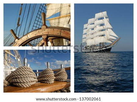 Collage of a sailing ship - stock photo