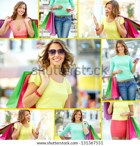 Collage of a shopping girl with paper bags - stock photo