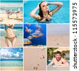 Collage of a summer tourism  photos - stock photo