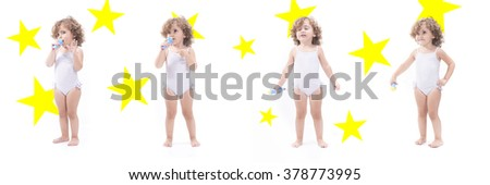 Collage of a sweet blonde female child with microphone and stars