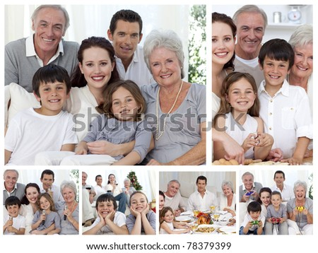 Collage of a whole family sharing moments together at home - stock photo