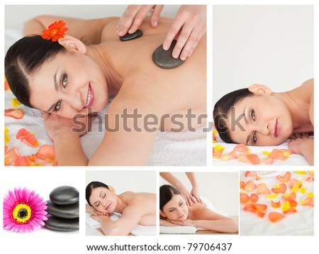 Collage of a woman having a stone massage in a spa
