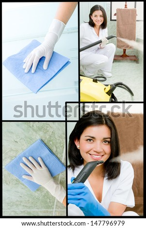 Collage of a woman washing a bathroom - stock photo