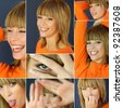 Collage of a woman wearing an orange shirt - stock photo