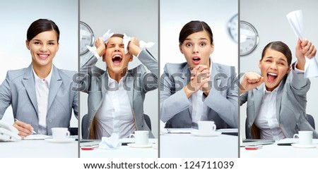 Collage of a young business lady with different expressions