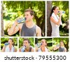 Collage of a young couple drinking water after the gym in a park - stock photo