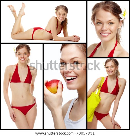 Collage of a young girl in red bikini isolated on white - stock photo