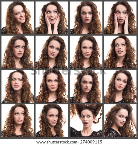 Collage of a young woman different emotions - stock photo