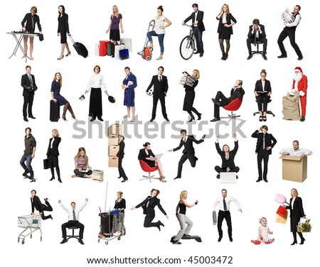 Collage of active people isolated on white background - stock photo