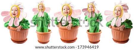 Collage of adorable baby girl dressed in flower costume on white background - stock photo