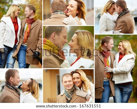 Collage of affectionate couple during walk in autumnal park - stock photo