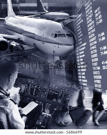 Collage of airport ambiance - stock photo