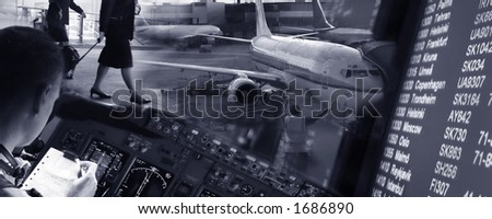 Collage of airport ambiance. - stock photo