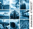 Collage of airport and airplane photos - stock photo