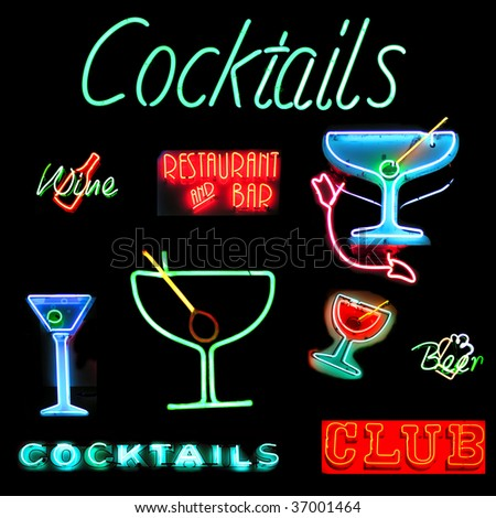 Collage of alcoholic beverages related neon sign isolated on black background - stock photo