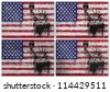 Collage of American flag with different texture backgrounds - stock photo